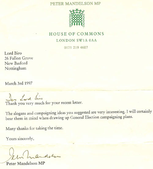 Letter from Peter Mandelson